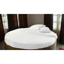 1000TC Egyptian Cotton ROUND BED SHEET SET Sateen Solid White