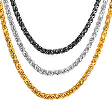 Stainless Steel 18K Gold Plated Wheat Chain Necklaces 3MM 6MM 9MM 26'' 28'' 30''