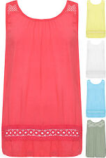 Womens Plus Pleated Baggy Vest Ladies Crochet Lace Sleeveless Pleated Top
