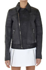 NEIL BARRETT Women Black Printed Leather Jacket Made in Italy New Original
