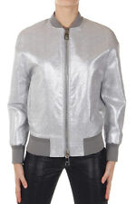 NEIL BARRETT Women Silver Oversize Fit Bomber Jacket Made in Italy New Original