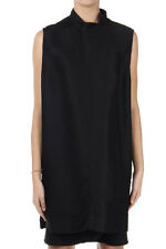 RICK OWENS Women Mixed Silk Black Tunic Original Made in Italy New