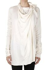RICK OWENS LILIES Women White WOOL LONG WRAP JACKET Made in Italy