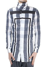 RICK OWENS Men New original Long checked 100% cotton shirt made in italy