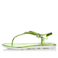PRADA women Patent Leather Flip flops green with logo new rubber sole