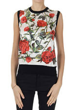 DOLCE & GABBANA Women Black Silk Floral Printed Sleeveless Top T-Shirt