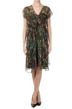 RICHMOND Women Green Leopard Printed Silk Dress Made in Italy New