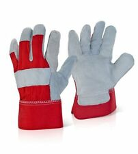 CANADAIAN RIGGERS HEAVY DUTY RED/GREY LEATHER TOUGH WORK GLOVES  DOUBLE PALM