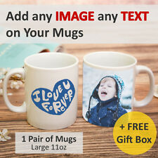 Pair of Personalised Mugs Photo on Cups Customise Photo and Text 11oz Mugs