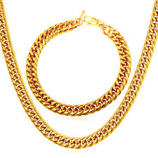 316L Stainless Steel 18K Gold Plated Franco Chain Necklace Bracelet Jewelry Sets