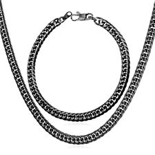Stainless Steel 18K Gold Plated 6MM Franco Chain Necklace Bracelet Jewelry Sets
