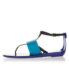 SERGIO ROSSI Women Blue Rubber Flip Flop Sandals Made in Italy New