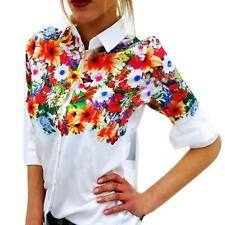 Summer Loose Chiffon Tops Women Long Sleeve Shirt Casual Blouse Floral Printed