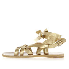 MIU MIU Women Gold Leather Flat Sandal Shoes Made in Italy New with Tag