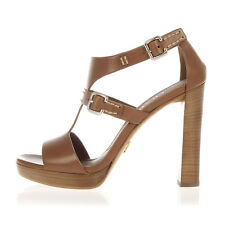 PRADA Women Brown Leather Sandal with Heel Made in Italy New with Tag