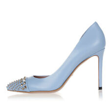 GUCCI Women Blue Studded Leather Pumps MALAGA KID Made in Italy NEW
