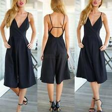 Sexy Backless Romper Jumpsuit Women High Waist Wide Leg Pants Trousers Clubwear