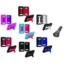 Hybrid Heavy Duty Hard/Soft Case Cover Stand+Car Charger for HTC Sprint EVO 4G