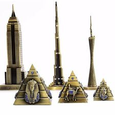 Vintage Alloy Empire State Building Burj Khalifa Guangzhou Tower Pyramids Model