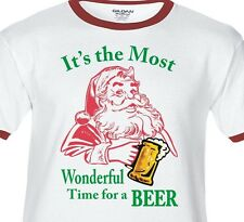 THE MOST WONDERFUL TIME FOR A BEER Premium SOFT T-shirt Santa claus Christmas