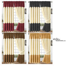 "PAIR 90"" x 90"" Luxury Jacquard Two Tone Floral Curtains + FREE Ties - 4 colours"