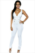 Fashion Women's Sexy Low-cut V-neck Button Tight Sleeveless Ladies' Jumpsuits