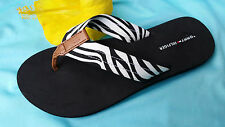 TOMMY HILFIGER WOMENS FLIP FLOPS BLACK WHITE ZEBRA SAFARI 8 10 11