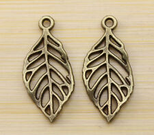 30/100/200pcs Retro style bronze Hollow out leaves charm pendant 28x13 mm