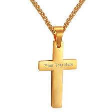 Stainless Steel Latin Cross Pendant Zirconia Necklaces 18K Gold Plated Jewelry