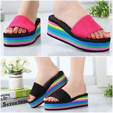Womens Rainbow Platform Slippers Wedge Heel Beach Sandals Flip Flop Summer Shoes