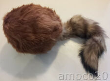 RED FOX TAIL Hat Cap Real Genuine Fur Real Davey Crockett Davy Coonskin USA
