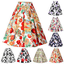 9 Style Women Cotton Vintage Stretch High Waist Plain Pinup Pleated Skirt Dress
