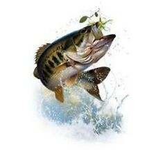 Fishing Tshirt Fish & Hook Large Mouth Bass Trout Fly Brown Bait Lure River Lake