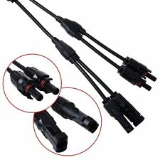 New 2X MC4 Adapter Male Female Y Branch T Branch Connector Cable For Solar Panel