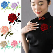 ROSE FLOWER APPLIQUE IRON-ON EMBROIDERED MOTIF PATCH GARMENT DECORATION CRAFT