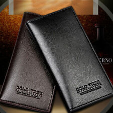 Stylish Mens Slim Long PU Leather Wallet Pockets Card Holder Clutch Bifold Purse