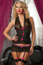 Womens Halter Cami Lace Cup Skirted Thong & Garters Sexy Underwear