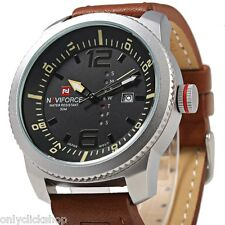 Leather Band Analog Water Resistant NAVIFORCE NF 9063M Men Quartz Wrist  Watch