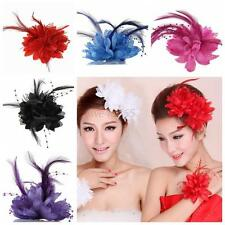 Nice Brooch Pin Bead Feather Flower Hair Clip Fascinator Fashion Bridal Hairband