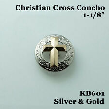 【KB601】1-1/8'' Western Christian Cross Concho Saddlery Concho Silver-Gold