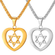Star of David Stainless Steel Heart Pendant Necklaces 18K Gold Plated Jewelry