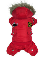 Pet Dog Winter Warm Clothes Jacket USA Dog Coat Red Puppy Apparel For Small Dog