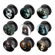 Pair of Slipknot Character Logo Acrylic Plugs Screw Fit Tunnels Ear Gauge 4G-1""