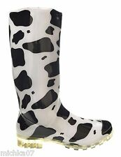 Womans Ladies Girl Cow Print Festival Wellies Rain Snow Welly Boots Size 4 5 6 7