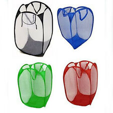 Foldable Pop Up Laundry Basket Hamper Washing Clothes Bag Bin Mesh Storage Bag