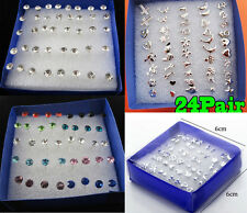 40pcs Lots Wholesale Rhinestone Crystal Earrings Studs Plastic Allergy +Free Pin