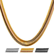 Stainless Steel Men Jewelry 18K Gold Plated Thick Snake Chain Necklaces 8mm 26''