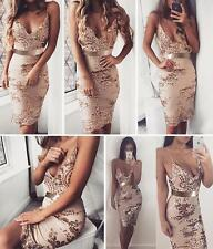 Women's Sexy Sling Sequins Deep V-Neck Backless Bodycon Club Party Mini Dress