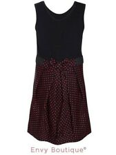 Girls Kids Children Bow Tie Front Polka Dot Dress Party Sleeveless Dress