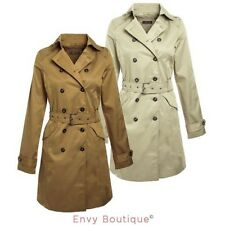 NEW LADIES WOMENS BELTED DOUBLE BREASTED TRENCH MAC JACKET COAT SIZES 8-14